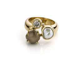 ring goud met parel, diamant en grijze maansteen