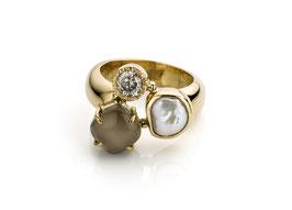 ring goud met parel, diamant en grijze maansteen