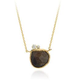 collier goud grijze maansteen en diamant