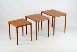 60er Teak Beistelltische, Nesting Tables von E. W. Bach für Møbelfabrikken Toften