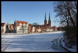 Dom im Winter, Motiv: 1224, in einem Rahmen mit Schattenfuge