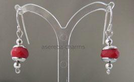Rote Kugel-Ohrhänger