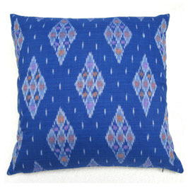Blue Diamond Ikat Pillow