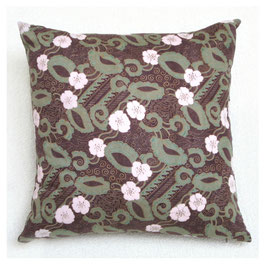 Burgundy Floral Handscreened Pillow
