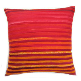 Red and Orange Striped Batik Pillow