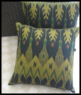 Black and Gold Ikat Pillow