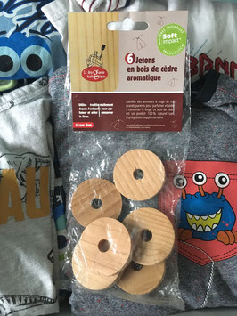 6 Jetons en bois de cèdre aromatique