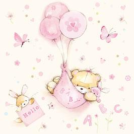 Serviette Baby Teddy rosa