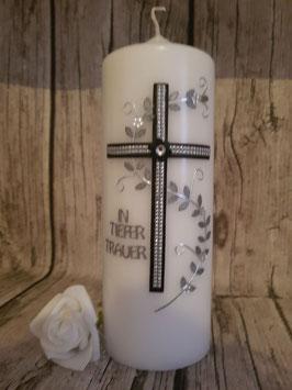Trauerkerze schwarz Kreuz Blumenranke