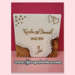 Hochzeitskerze Holz mit Teelichteinsatz Glitzer Ja