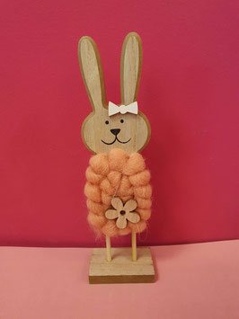 Holz Woll Hase pfirsich