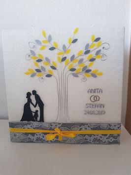 Hochzeitskerze Harmony mit Brautpaar Lebensbaum