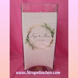 Hochzeitskerze Glas Blätterkranz