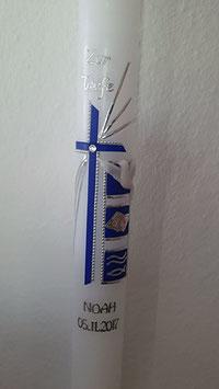 Taufkerze Kreuz + Quadrate