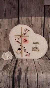 Hochzeitskerze Sterin Herz mit Kreuz