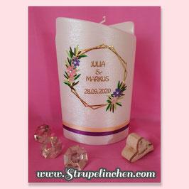 Hochzeitskerze mit Teelichteinsatz Boho