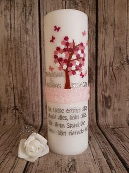 Kerze Blütenbaum mit Schmetterlinge