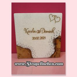 Hochzeitskerze Holz mit Teelichteinsatz Glitzer