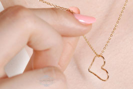 Gold filled Heart - Herz Anhänger, Halskette