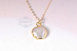 Süßwasser Perle - Anhänger mit Kette, Coin Perle | Leider Ausverkauft