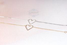 Silver / Gold Love - Armband, gehämmerte Herz
