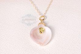 Rosa Perlmutt - Blüten Anhänger, gold filled Kette