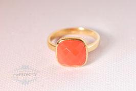 Coral Chalzecdon Kissen - Ring, Silber vergoldet