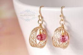 Himbeer Kristall - Ohrhänger vergoldet