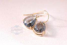 Rauch Graue / Opal Glas - Tropfen, vergoldete Ohrringe