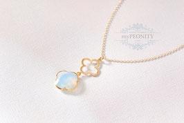 Anhänger aus Kleeblättern - Opalit, Halskette