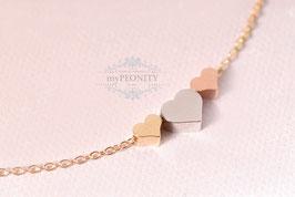 Drei Herzen - Anhänger in drei Farben, Halskette