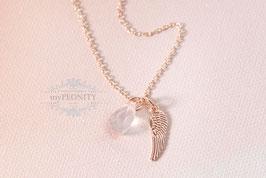 Flügel - mit Rosenquarz Tropfen, Halskette
