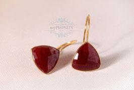 Rote Rubin - Ohrringe vergoldet