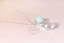 Barock Kristall - Jade, Silber Kette