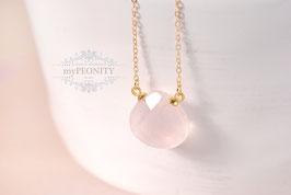 Quarz - rosa Tropfen Anhänger, Halskette