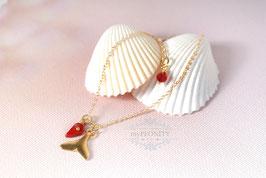 Walfischflosse - rote Koralle, Fußkettchen