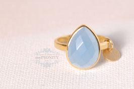 Blauer Chalzedon Tropfen - Silber Ring vergoldet
