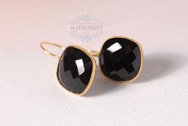 Schwarze Onyx Kissen - Ohrringe vergoldet