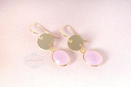 Hängende rosa Chalzedon - Ohrringe, vergoldet