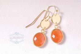 Roter Onyx - Ohrhänger, vergoldet