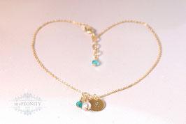 Perlen Kristall - Fußkettchen, Buchstabe Graviert