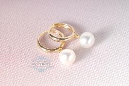 Mini Kreolen - mit Perlen Buttons, vergoldetes Silber