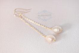 Lange Süßwasser - Perlen, Ohrringe, vergoldet