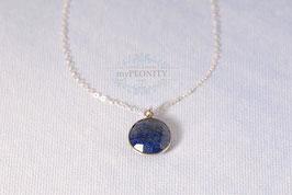 Blue Lapislazuli - Anhänger rund, Halskette Silber