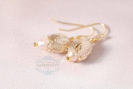 Blüten Perlen - Süßwasserperlen Ohrringe vergoldet