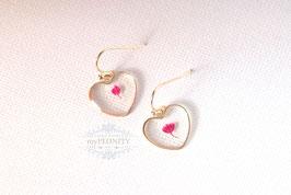 Klare Herz Blumen - kurze Ohrringe