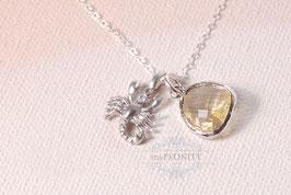 Skorpion Sternzeichen - Silber, Glas-Citrin, Silber Kette