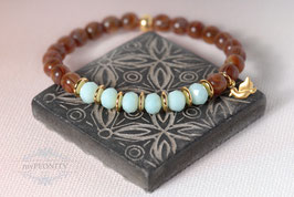 Elastisches Buddha Kristall - Armband, Türkis Braun Gold