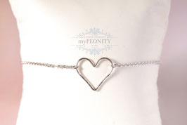 Silver Love - Armband, gehämmerte Herz, Gold/Silber
