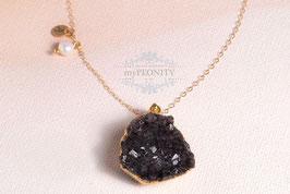Druzy - mit Perle und Buchstabe, Gold filled Kette